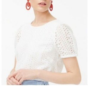 JCREW | Puff Sleeve White Eyelet M👚